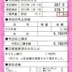 2013/1月分7.3立法で5760円