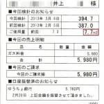 2013/2月分7.7立法で5980円
