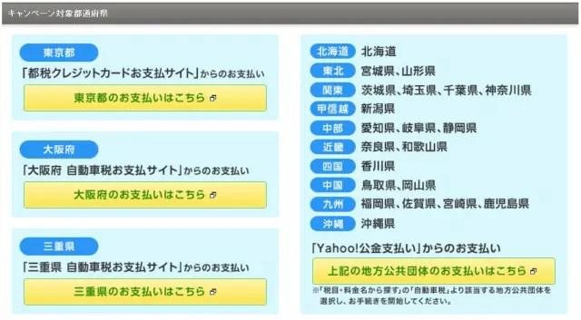 キャンペーン対象都道府県