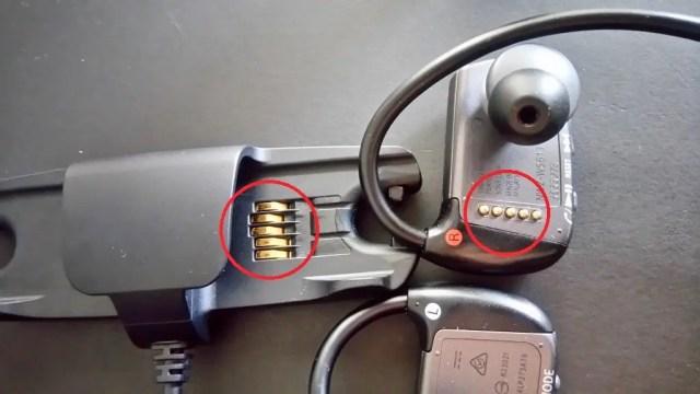 USBアダプタと防水ウォークマン本体をつなぐ接点が擦れて接触が悪くなってしまった。