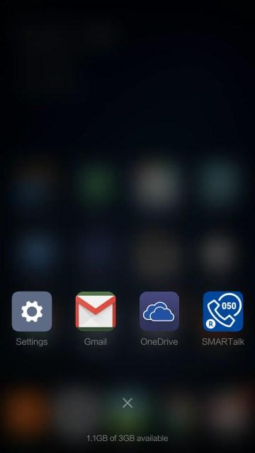左ボタン タップ時は起動アプリ リスト表示、「☓」を押すと全アプリが終了する