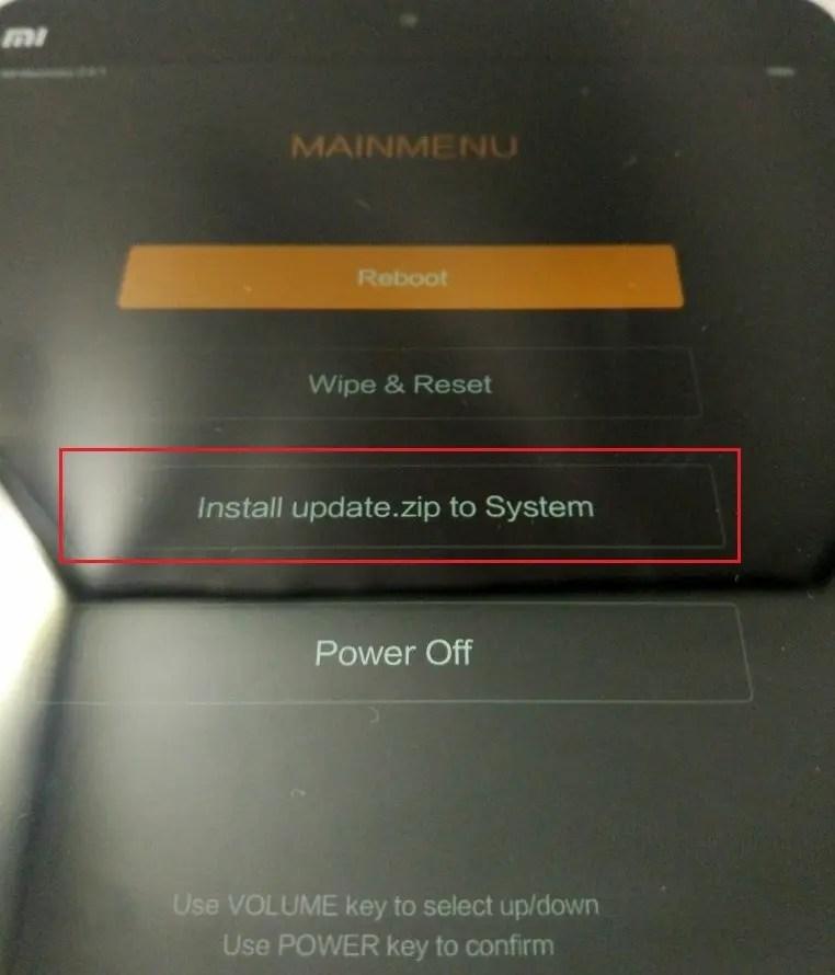 使うのは、Install update.zip to System これを選ぶ