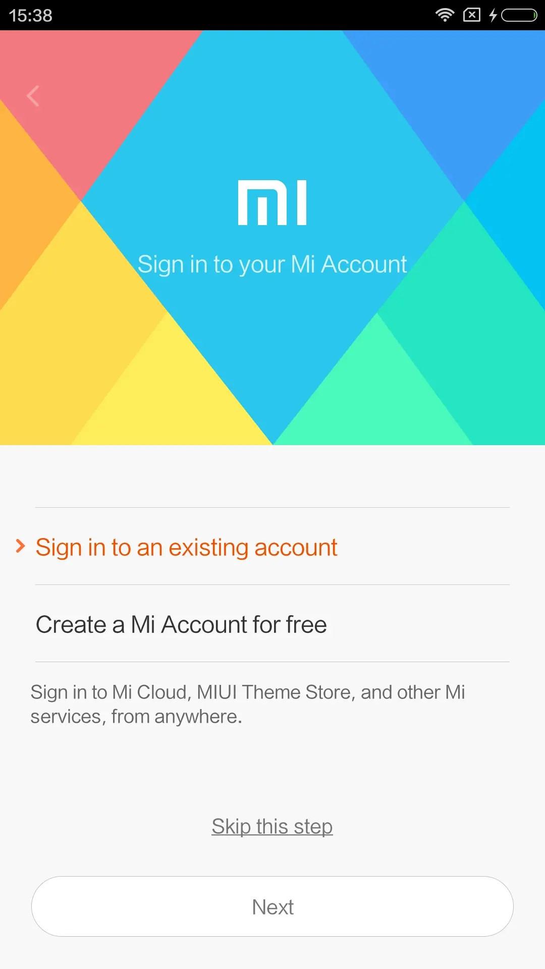 Mi Accountにログイン、無い場合はココでアカウントを作る