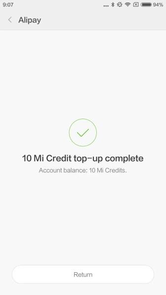 10 Mi Creditsチャージ完了