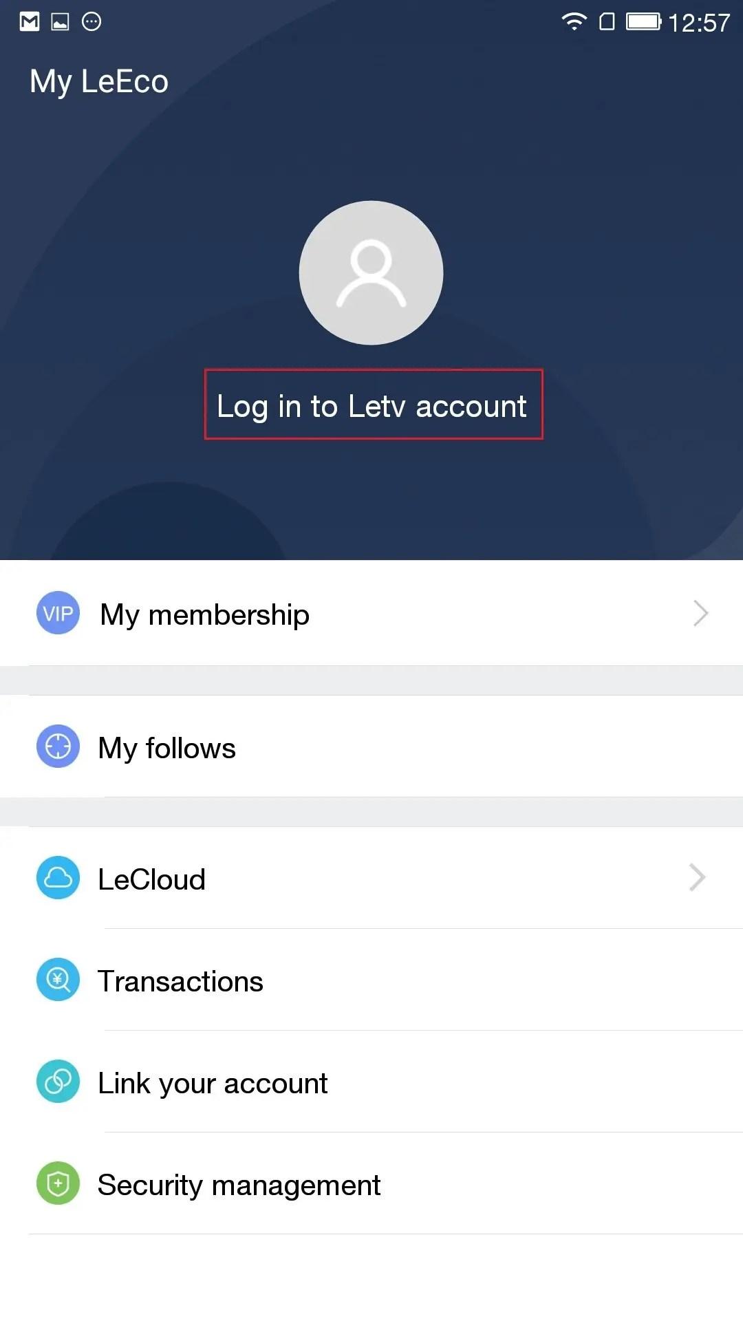 Log in to Letv accountを押す