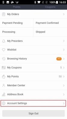 Banggood ユーザーページのAccount Settingsをタップ