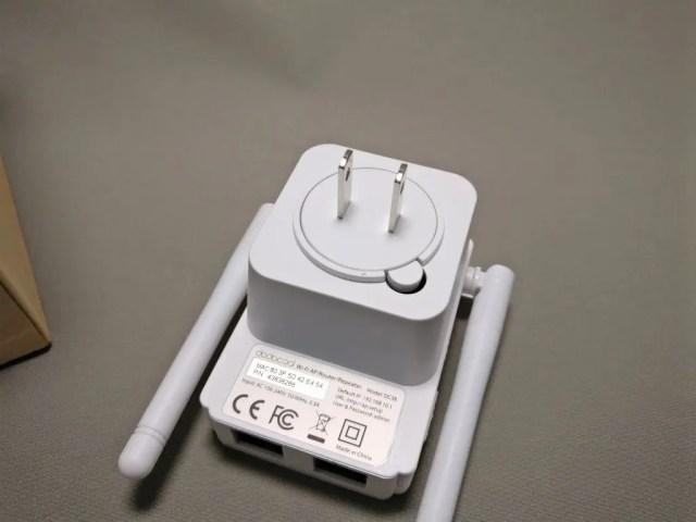 dodocool N300 Wifiルーター・中継器・APモード 3役 11g/b/n対応 300Mbps コンセント直挿し 裏