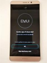 Huawei Mate 9 ファクトリー リセット Wipe datafactory resetを押す