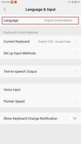 Lenovo ZUK Z2 Pro 日本語表示にする Advanced Settings > Language & Input > Language