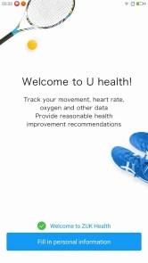 Lenovo ZUK Z2 Pro U Health ヘルスアプリ Welcome