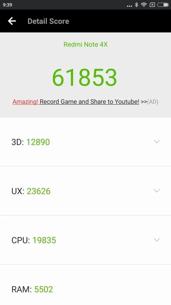 Xiaomi Redmi Note 4X Antutu 61853