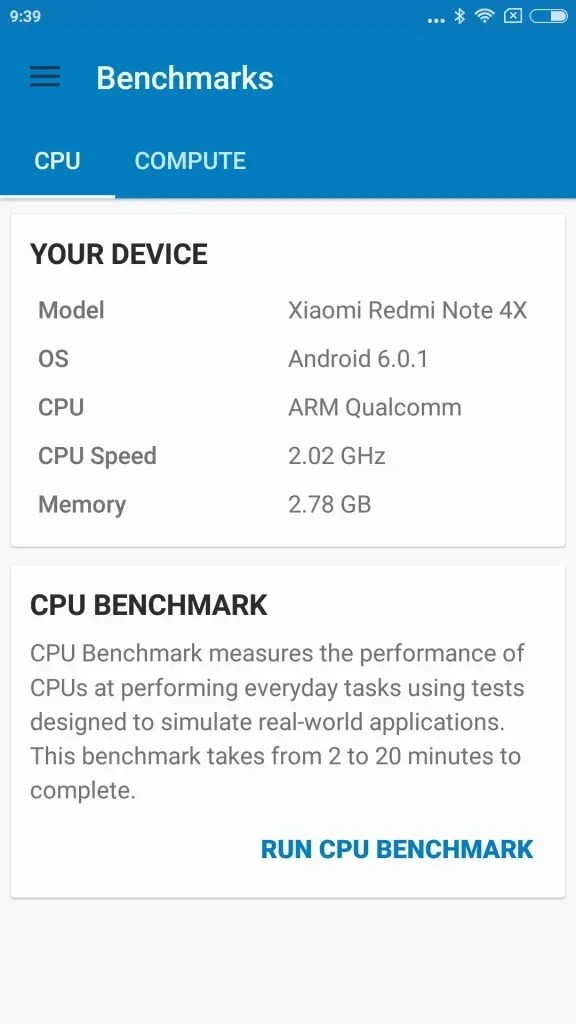 Xiaomi Redmi Note 4X GeekBench Device