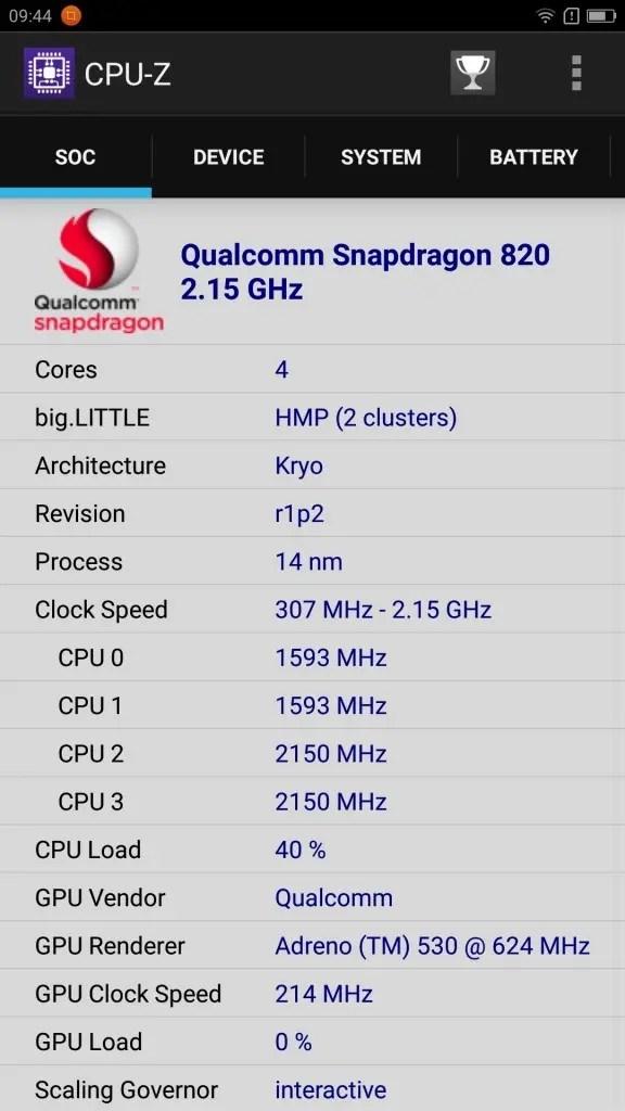 Lenovo ZUK Z2 Pro CPU-Z SOC