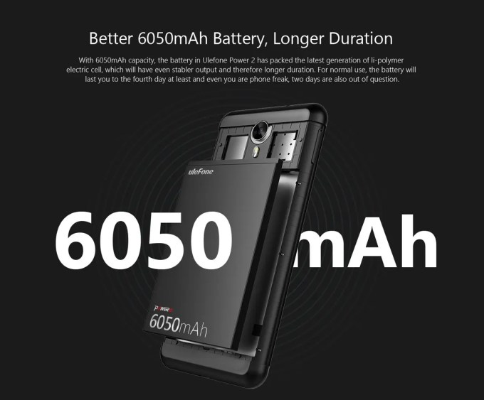 Ulefone Power 2 6050mAhバッテリー