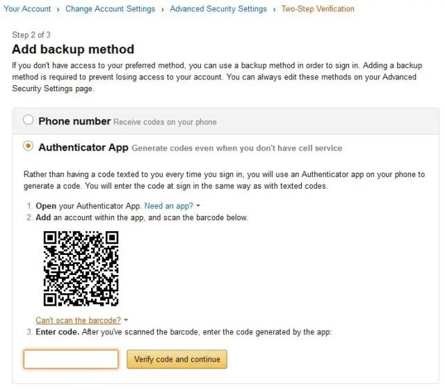 Amazon.com 2段階認証 Add backup method