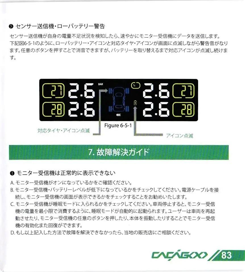 CACAGOO TPMS タイヤ空気圧監視システム 取説 83