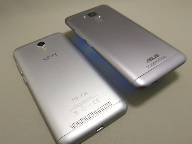 ASUS Zenfone Max 3 と UMI Touchと比較 ななめ