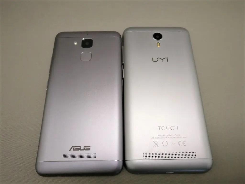 ASUS Zenfone Max 3 と UMI Touchと比較 斜めから