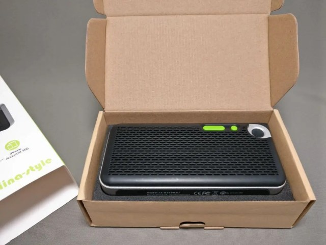 iina-style Bluetooth4.1スピーカー IS-BTSP03U 化粧箱 開ける