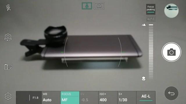 LG V20 Pro カメラ マニュアルモード フォーカスピーキングピントを合わせたいところをタップして