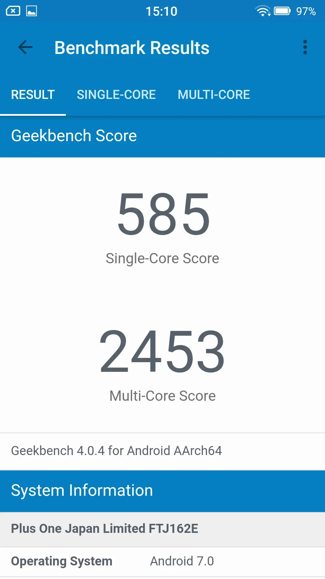 FREETEL RAIJIN Geekbench 585