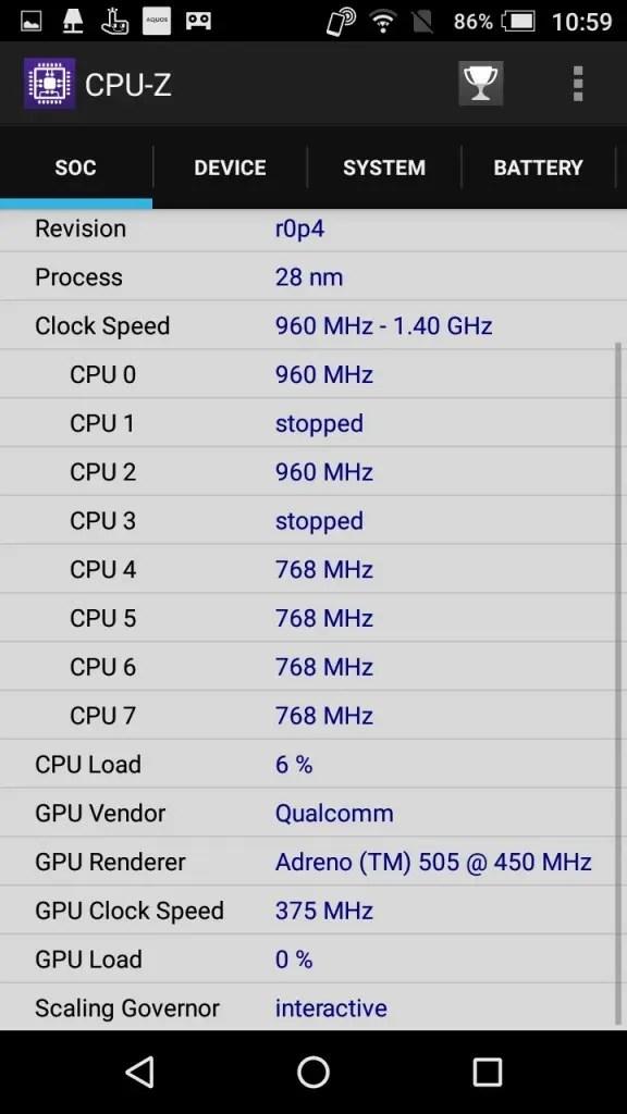 楽天モバイル シャープ SH-M04 CPU-Z SOC2