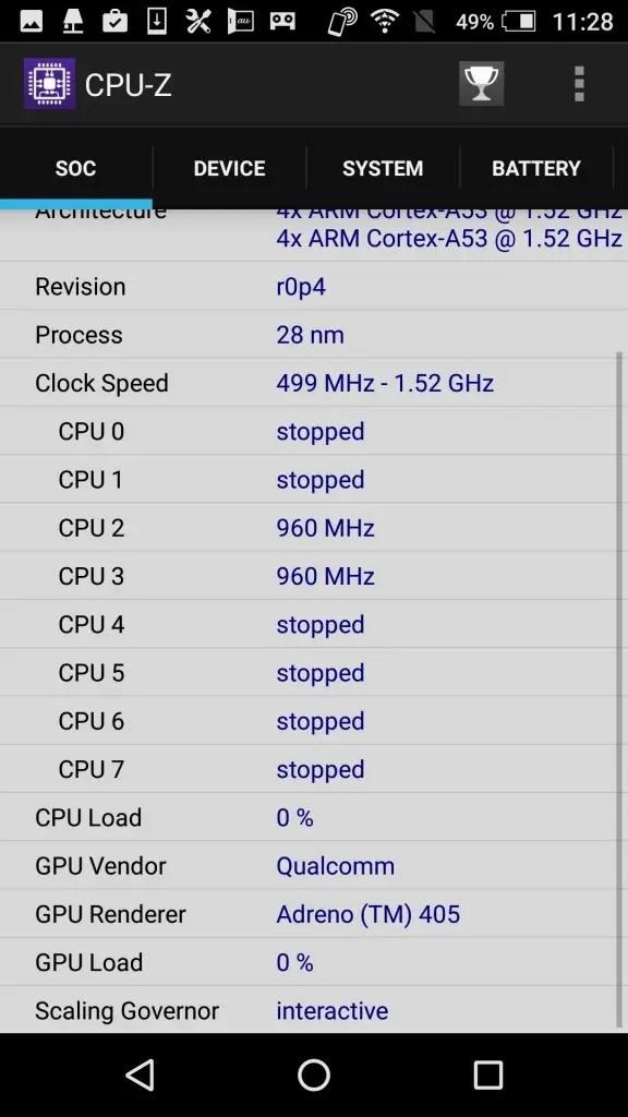 AQUOS SERIE mini SHV38 CPU-Z Soc2
