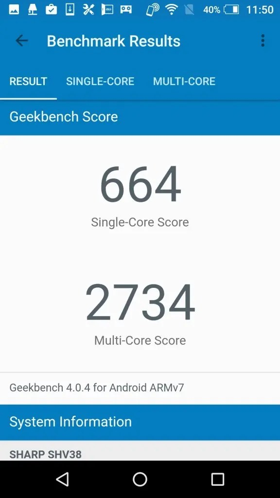 シャープ AQUOS SERIE mini SHV38 Geekbench2
