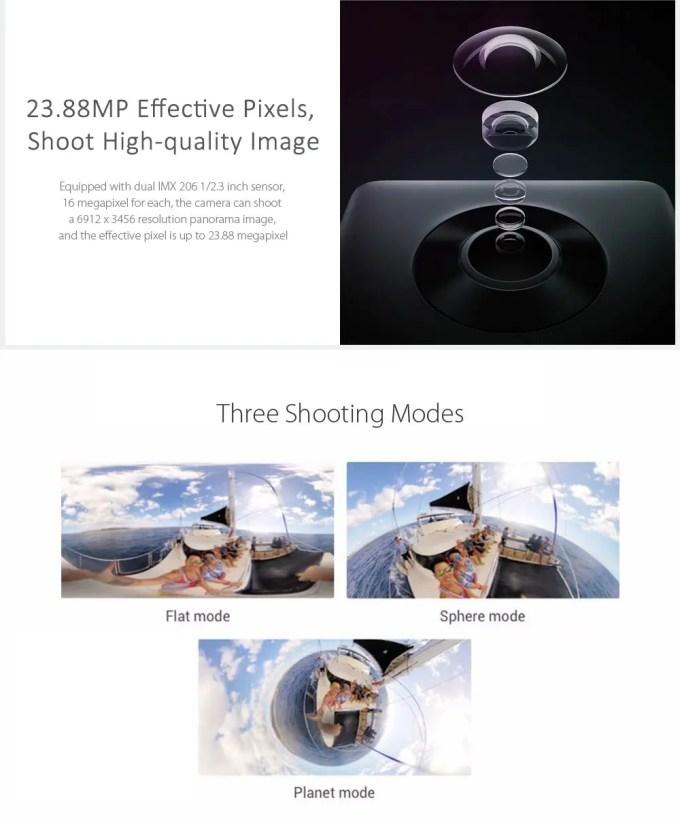 Xiaomi mijiaXiaomi mijia 3.5K Panorama Action Camera Modes