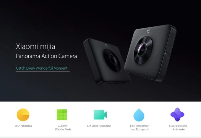 Xiaomi mijiaXiaomi mijia 3.5K Panorama Action Camera Spec