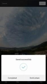 Mi Sphere Cameraアプリ 動画編集完了 シェアもできる