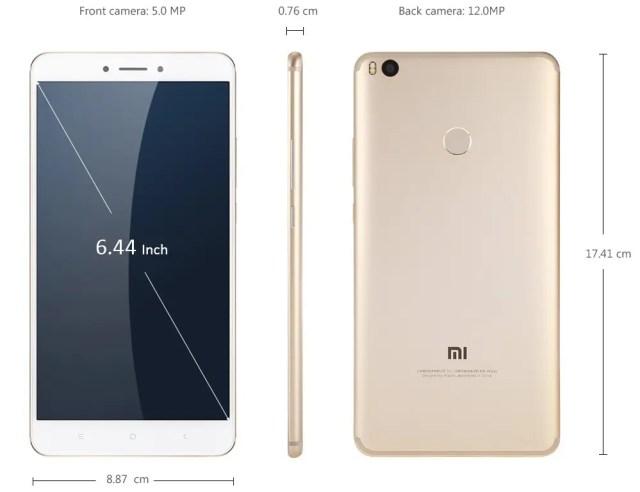 Xiaomi Mi Max 2 サイズ