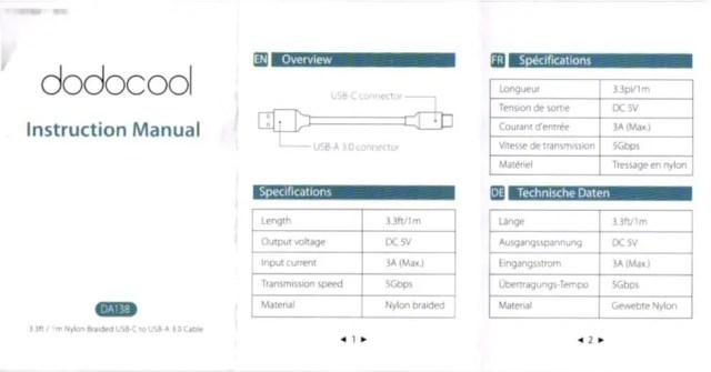 dodocool USB Typc-C SSケーブル