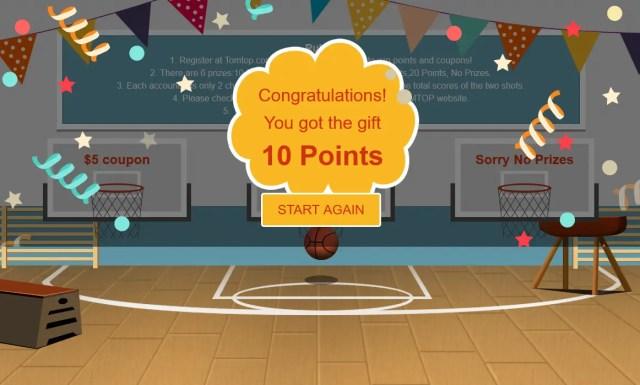 TOMTOP 13周年記念セール バスケットゲーム 10Points