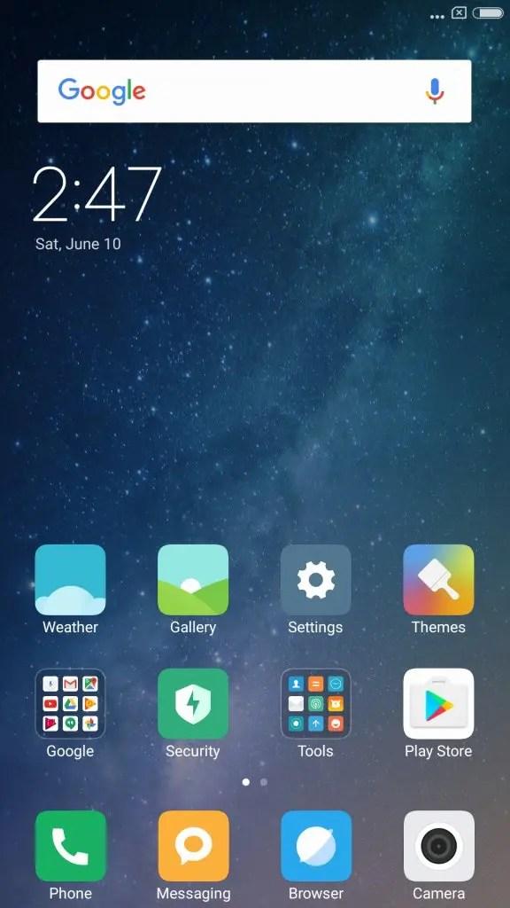 Xiaomi Mi Max 2 English ホーム画面