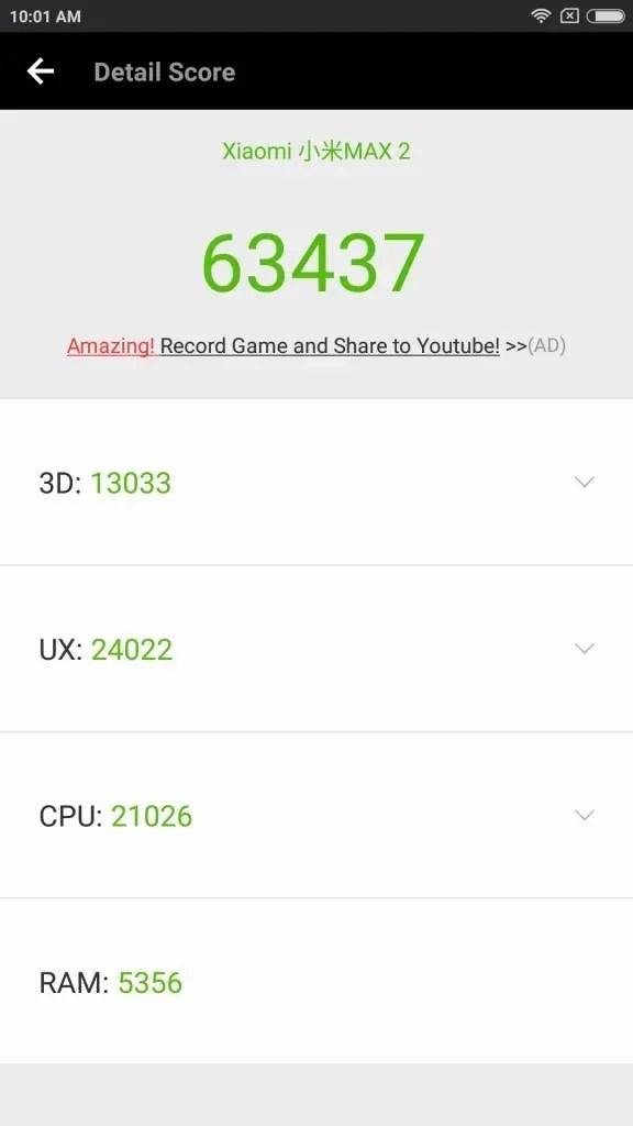 Xiaomi Mi Max 2 Antutu 63437