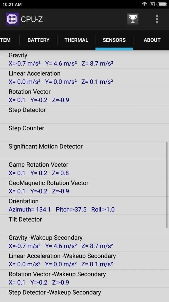 Xiaomi Mi Max 2 Sensors2