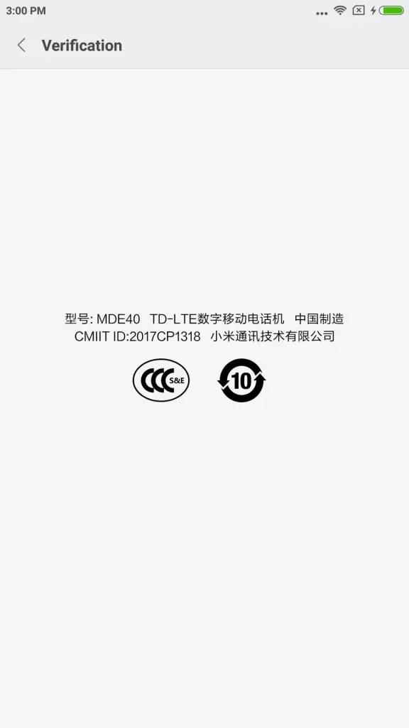 Xiaomi Mi Max 2 Settings About phone Verification