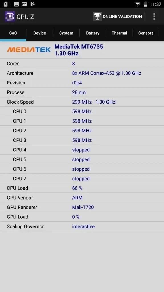 LENOVO phab2 Plus CPU-Z Soc