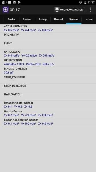 LENOVO phab2 Plus CPU-Z Sensors