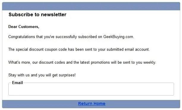 Geekbuying メルマガ登録後