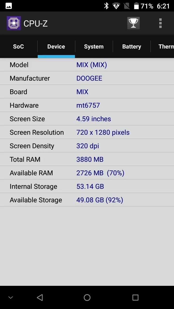 DOOGEE MIX CPU-Z3