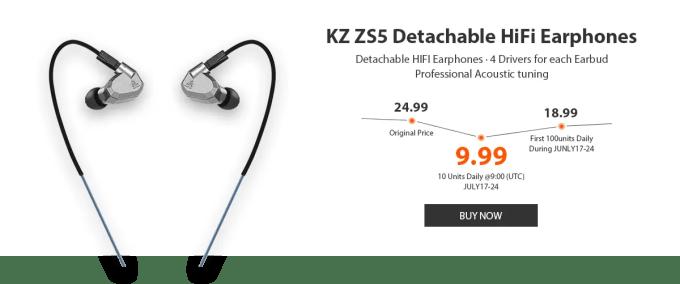 中華イヤホン KZ ZS5 プレセールで9.99ドル