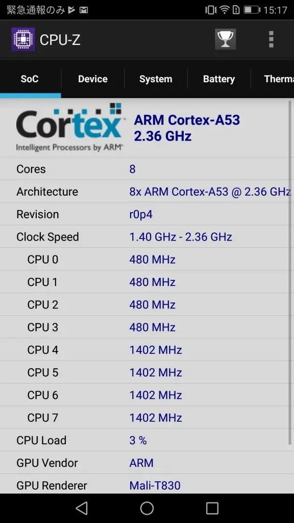 Huawei P10 Lite CPU-Z1
