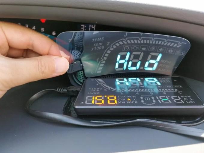 KKmoon カーHUDヘッドアップディスプレイ 空気圧 本体 ミラー インパネ