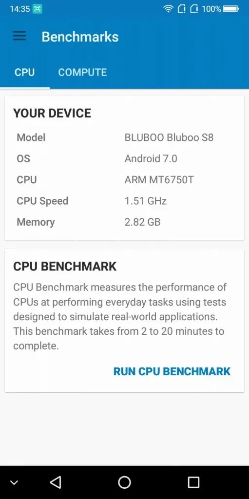 BLUBOO S8 Geekbench