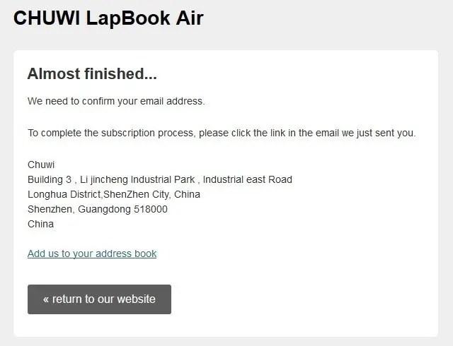 その他、Chuwi Lapbook Air メルマガ登録