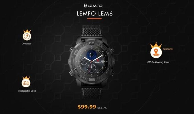 LEMFO LEM6 3Gスマートウォッチフォン 99.99ドル プレセール