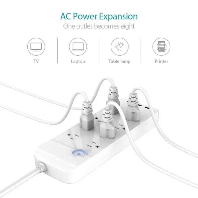 dodocool コンセント8口+USB充電ポート3口 電源タップ 商品画像 コンセント