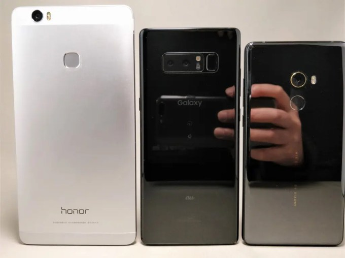 Xiaomi Mi MIX2 と Galaxy note 8 見た目ちょい比較 裏面